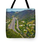 Freeway Sepulveda Pass Traffic Bel Air Crest California Tote Bag
