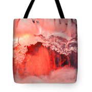 Freezing Waterfall Glowing In Red Light Tote Bag