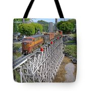 Freight Train Bridge Crossing Tote Bag