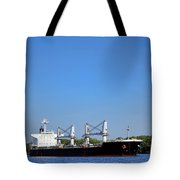 Freighter On River Tote Bag