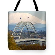 Fremont Bridge And Mount Saint Helens Tote Bag