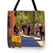 French Bread On Laurier Street Montreal Cafe Scene Sunny Corner With Vente De Garage Sign Tote Bag