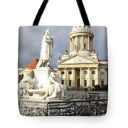 French Cathedral And Statue Gendarmenmarkt Germany Tote Bag