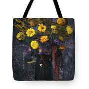 French Marigold Purple Daisies And Golden Sheaves Tote Bag