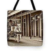 French Quarter Carriage Ride Sepia Tote Bag