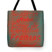 French Wines - 5 Champagne And Bordeaux Region Tote Bag