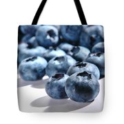 Fresh And Natural Blueberries Close Up On White Tote Bag