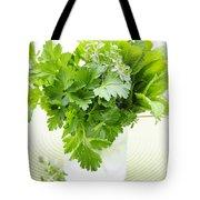 Fresh Herbs In A Glass Tote Bag