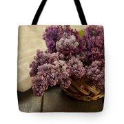Fresh Lilacs In Brown Basket Tote Bag