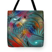 Fresh Mints And Cool Blues-abstract Fractal Art Tote Bag by Karin Kuhlmann
