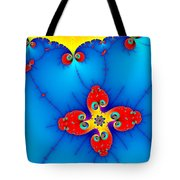 Fresh Orange Red And Blue Abstract Fractal Art Tote Bag