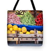 Fresh Organic Fruits And Vegetables At A Street Market Tote Bag
