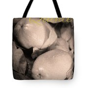 Fresh Quince Distressed Sepia Text Tote Bag
