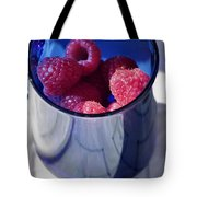 Fresh Raspberries In A Blue Cup Tote Bag