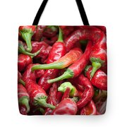 Fresh Red Chili Peppers At Local Street Market In Dunhuang China Tote Bag