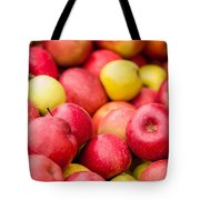 Freshly Harvested Colorful Crimson Crisp Apples On Display At Th Tote Bag