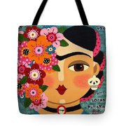 Frida Kahlo With Flowers And Skull Tote Bag