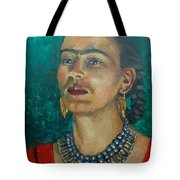 Frida Teal Tote Bag by Lilibeth Andre