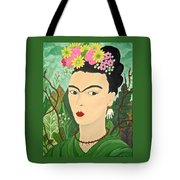 Frida With Flowers Tote Bag
