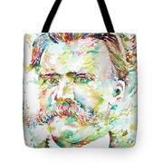Friedrich Nietzsche Watercolor Portrait Tote Bag