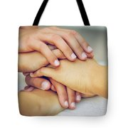 Friends Hands Tote Bag by Carlos Caetano