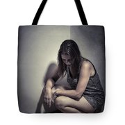 Frightened Woman Tote Bag
