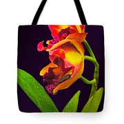 Frilly  Red And Yellow Orchids Tote Bag
