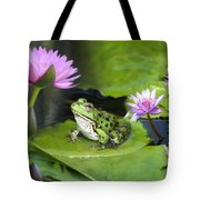 Frog And Water Lilies Tote Bag