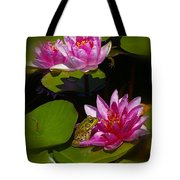 Frog And Water Lily Tote Bag