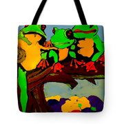 Frog Family Hanging Out On A Limb Tote Bag