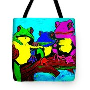 Frog Family Hanging Out On A Limb3 Tote Bag