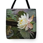 Frog In Awe Of White Water Lily Tote Bag