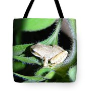 Frog In The Garden Tote Bag