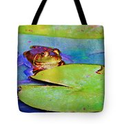 Frog - On A Water Lily Pad Tote Bag