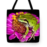 Frog  On Flower Tote Bag by Jean Noren