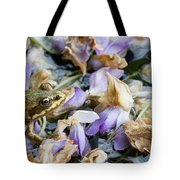 Frog On The Flowers Tote Bag