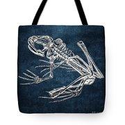 Frog Skeleton In Silver On Blue  Tote Bag