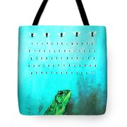 Frog With Flies In Space Invaders Formation Tote Bag by Fabrizio Cassetta