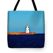 From A Distance    Harbor Beach Lighthouse Tote Bag