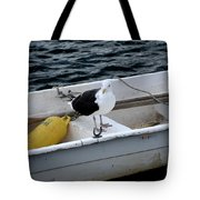 From Rockport Ma A Seagull Chilling Out In A Rowboat Tote Bag