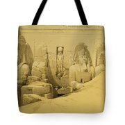 Front Elevation Of The Great Temple Of Aboo Simbel Tote Bag by David Roberts