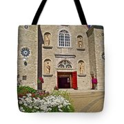 Front Of Sainte-famille Church On Ile D'orleans-qc Tote Bag