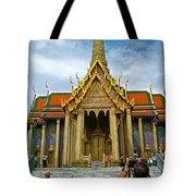Front Of Thai-khmer Pagoda At Grand Palace Of Thailand In Bangkok Tote Bag