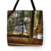 Front Side Window Antique Car Tote Bag