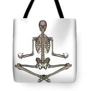 Front View Of Human Skeleton Meditating Tote Bag
