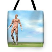 Front View Of Male Musculature Walking Tote Bag