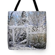Front Yard Of A House In Winter Tote Bag