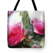 Frost Bears Down On Snapdragon Named Floral Showers Red And Yellow Bicolour Tote Bag