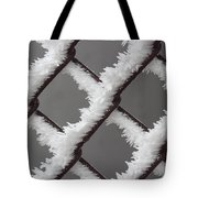 Frost On The Fence Tote Bag