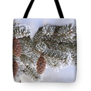Frosted Pine Tree And Cones 1 Tote Bag